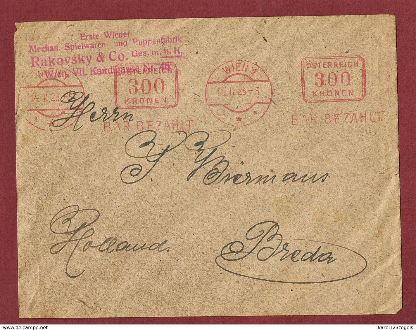 Infla Ab 1. Nov.1922 Ausland  Drucksache Bar Bezahlt Freistempel - 1918-1945 1. Republik