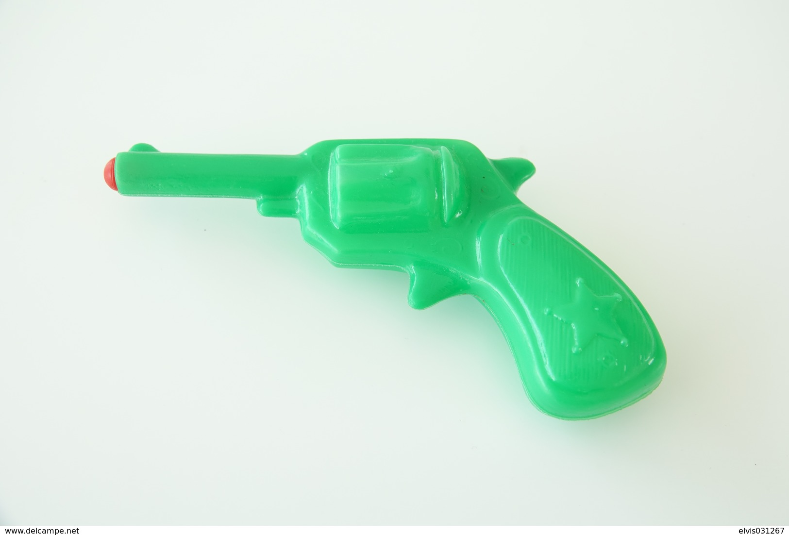 Vintage TOY GUN : PLASTIC REVOLVER GREEN - L=15cm - 1950s - Keywords : Cap - Cork Gun - Rifle - Revolver - Pistol - - Decotatieve Wapens