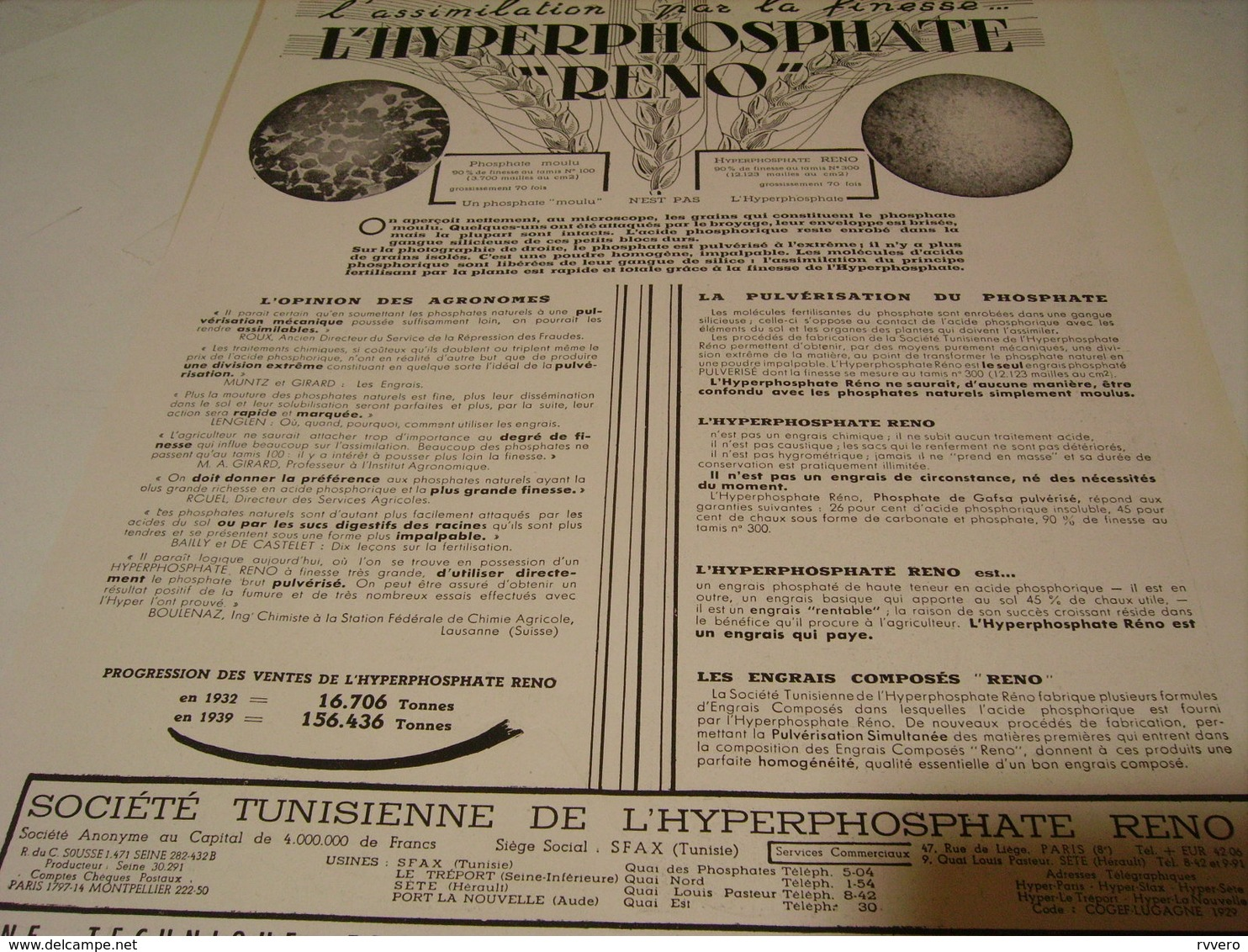 ANCIENNE PUBLICITE L HYPERPHOSPHATE DE RENO 1941 - Traktoren