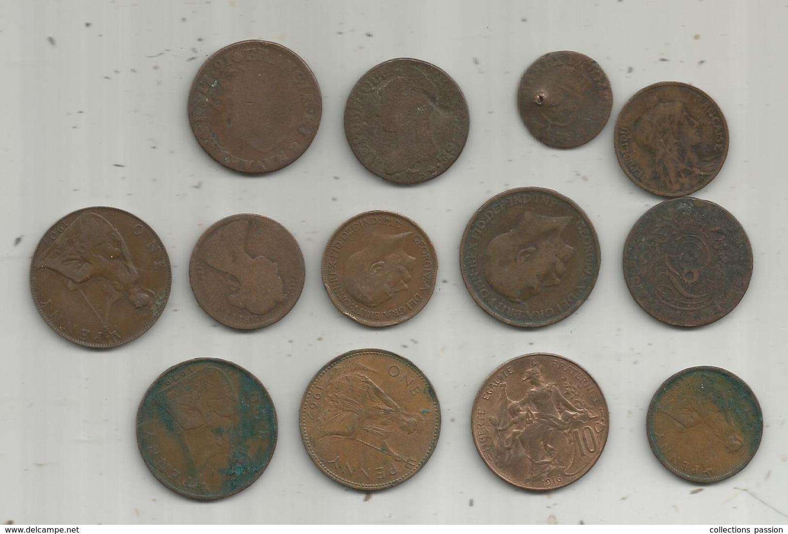 Monnaie, LOT DE 13 MONNAIES, 2 Scans , Frais Fr 2..95 E - Kilowaar - Munten