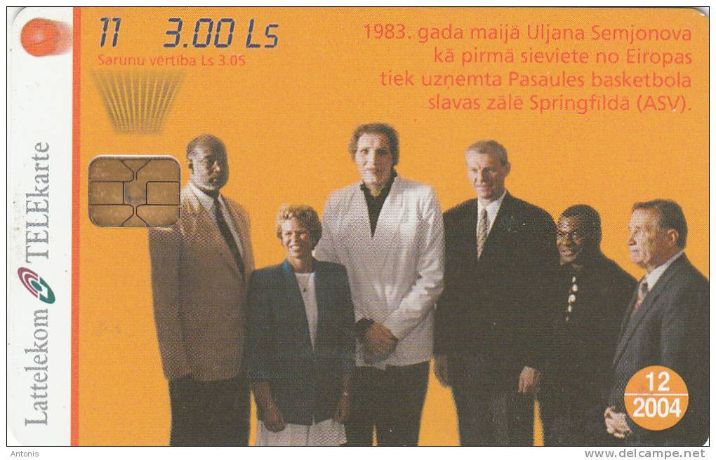 LATVIA - Basketball 11/Uljana Semjonova, Tirage 25000, Exp.date 12/04, Used - Lettonia
