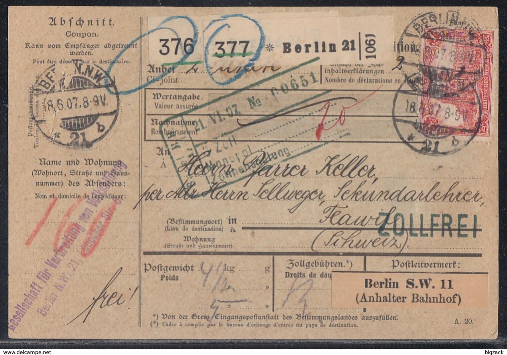 DR Paketkarte Für 2 Pakete Mif Minr.5x 83I,91I,94AI Berlin 18.6.07 Gel. In Schweiz - Deutschland