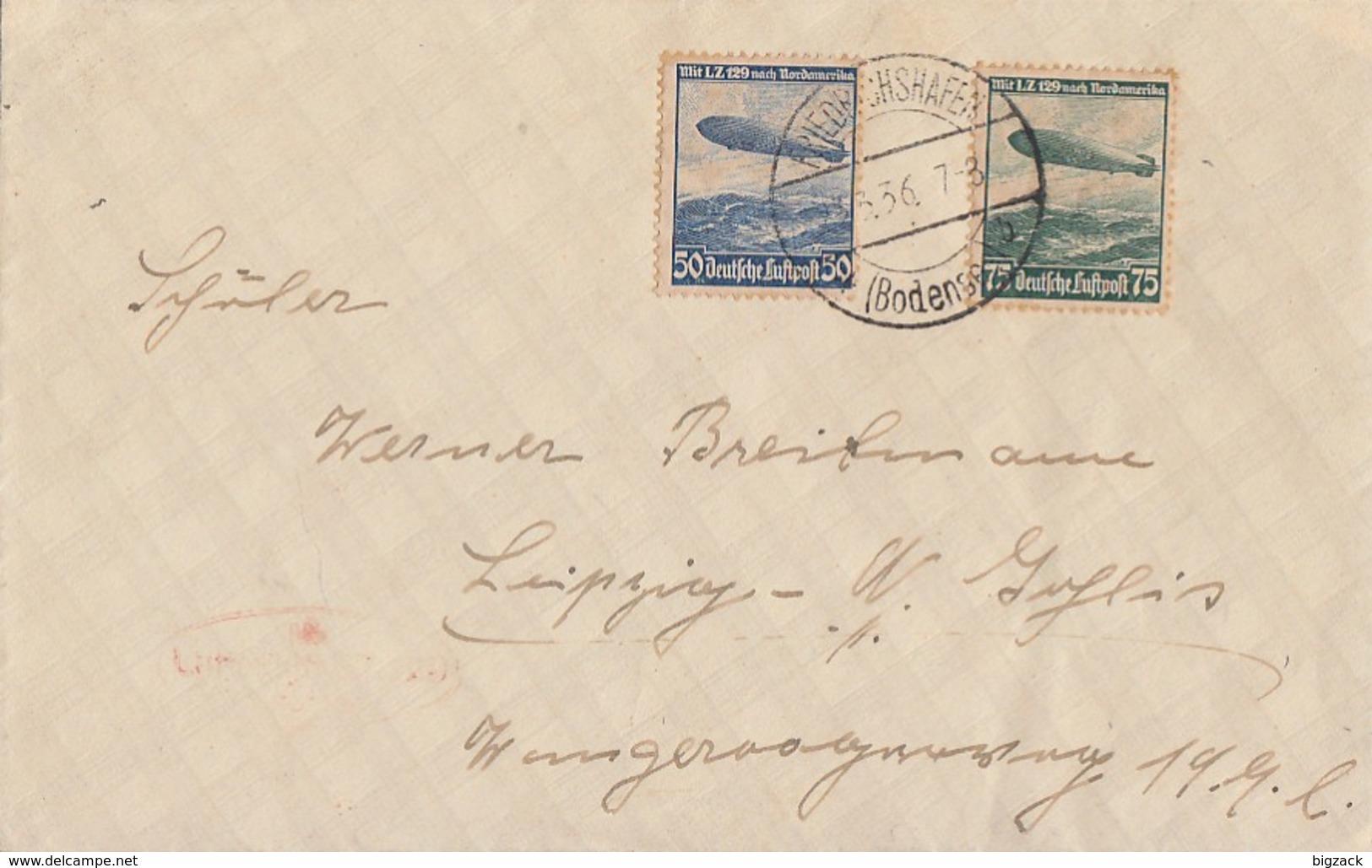 DR Brief Mif Minr.606,607 Friedrichshafen 23.3.36 - Briefe U. Dokumente