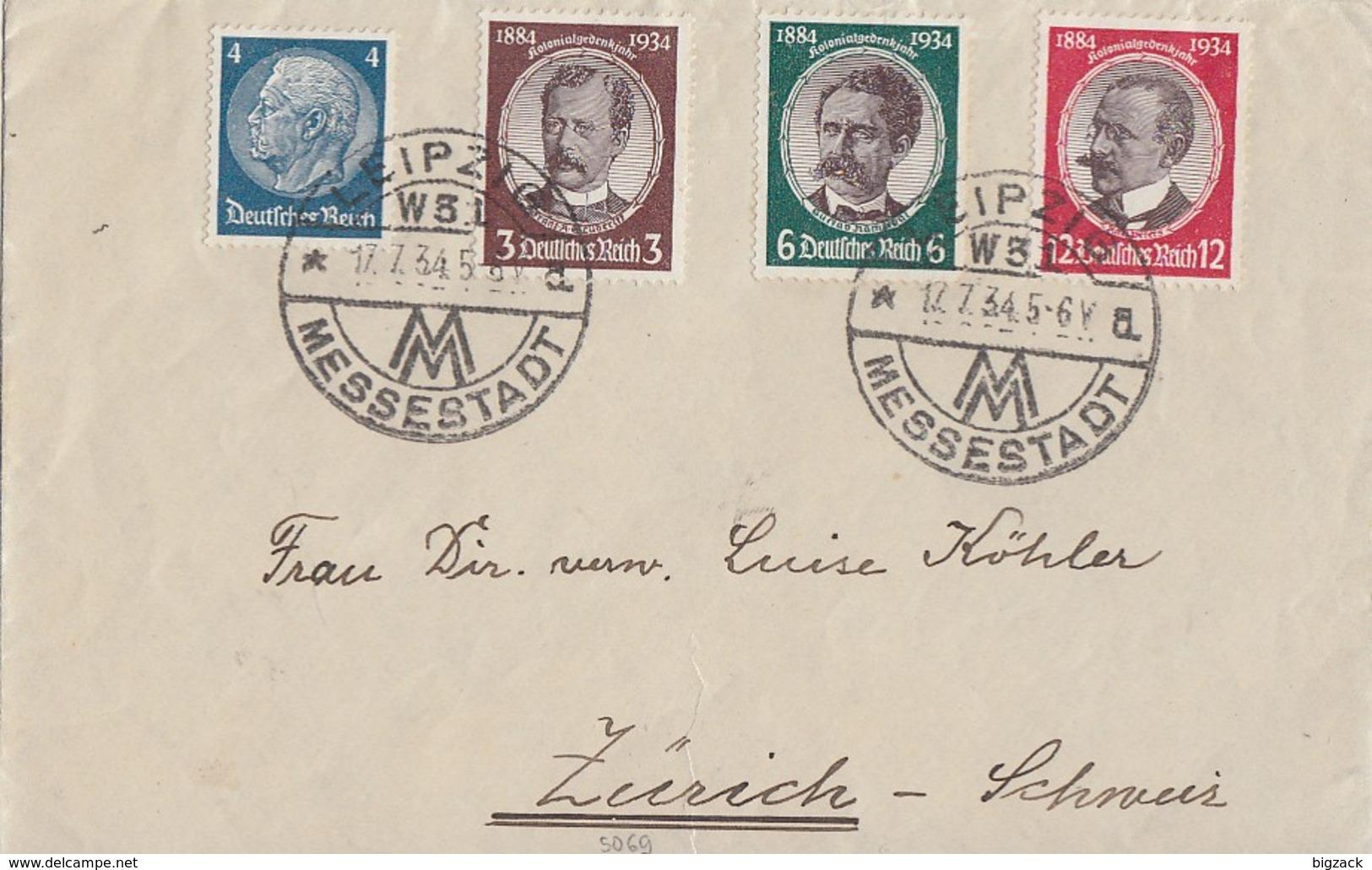 DR Brief Mif Minr.483,540,541,542 Leipzig 17.7.34 Gel. In Schweiz - Briefe U. Dokumente