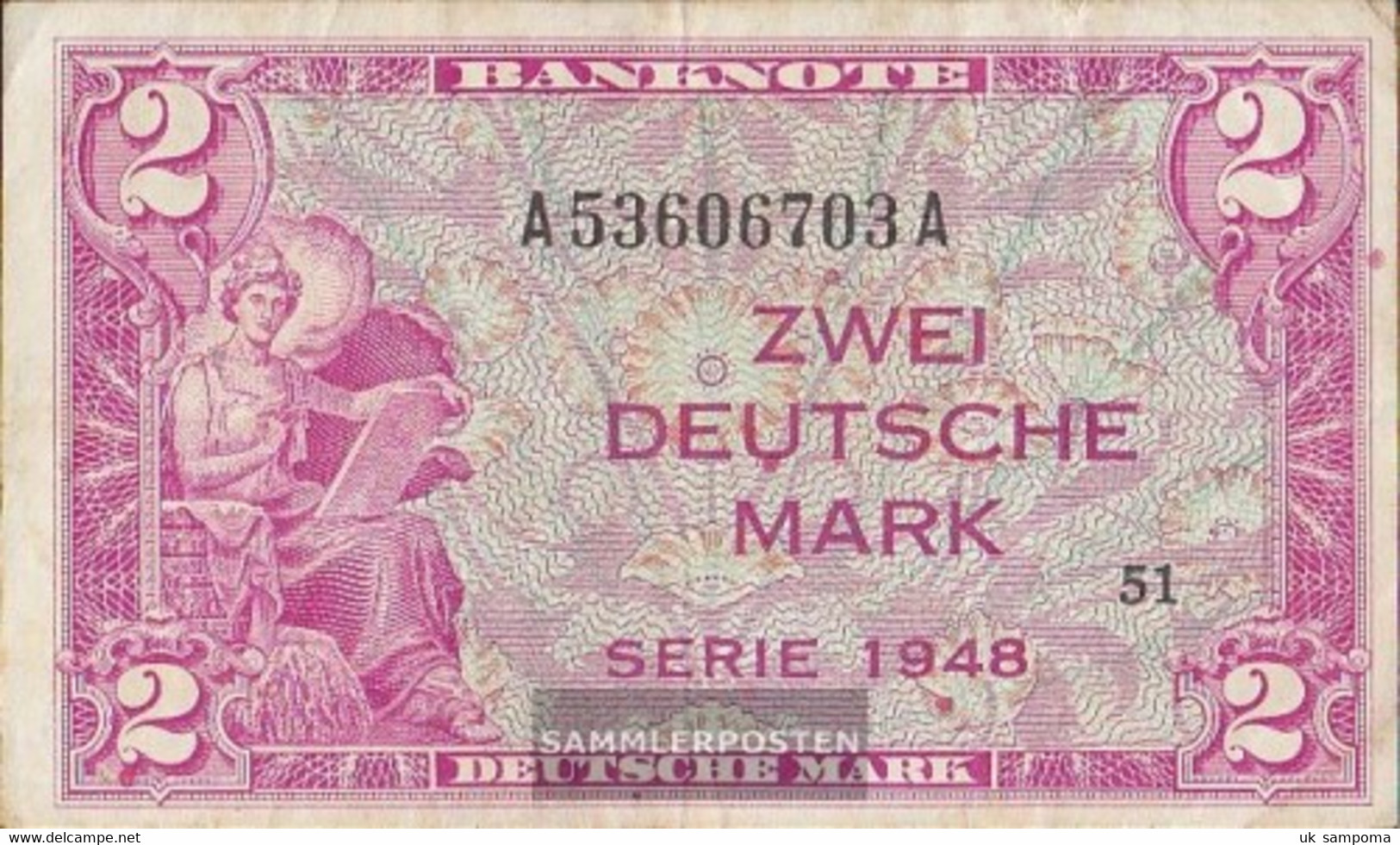 FRD (FR.Germany) Rosenbg: 234a, Kenn-Bst: A, Series: A Strong Used (IV) 1948 2 German Mark - [ 7] 1949-… : FRG - Fed. Rep. Of Germany