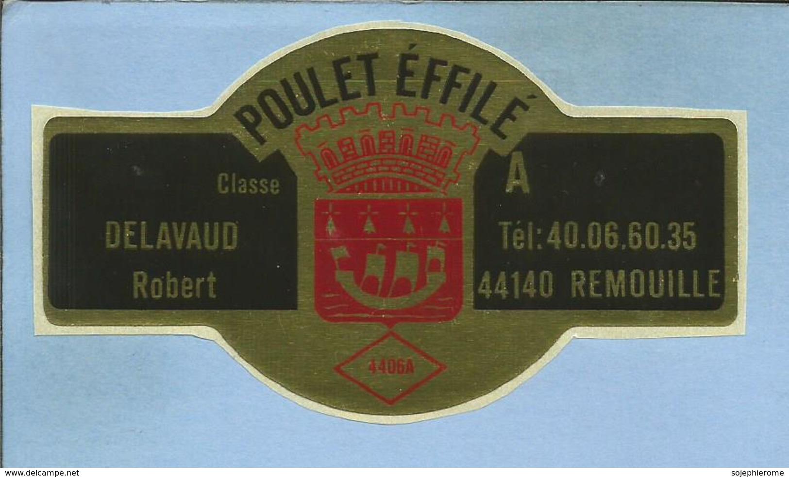 Remouillé (44) Classe Delavaud Robert Poulet Effilé 2 Scans Galion Muraille De Château Symbole D'hermine - Stickers
