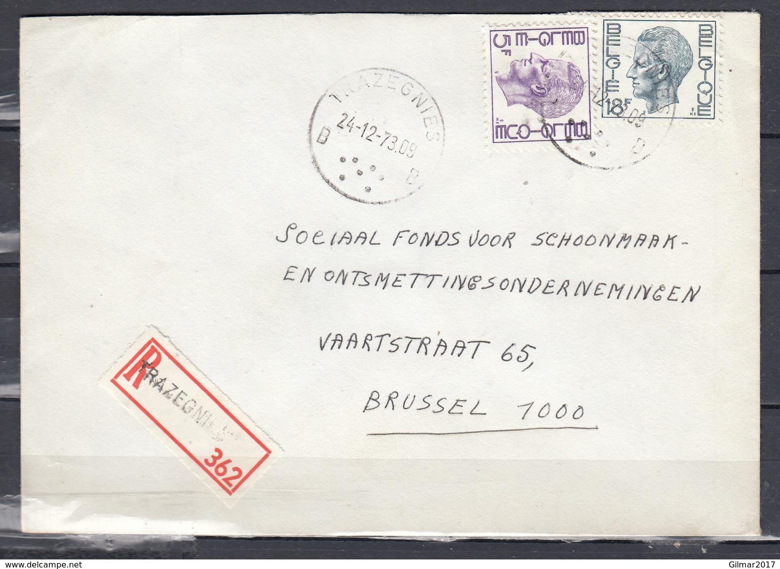 Aangetekende Brief Van Trazegnies Naar Brussel - 1970-1980 Elström
