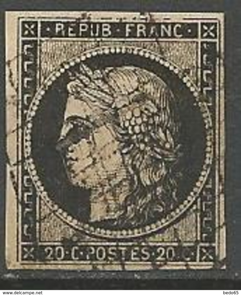CERES N° 3 CADRE Nord Et Sud Ouest Brisé OBL - 1849-1850 Ceres
