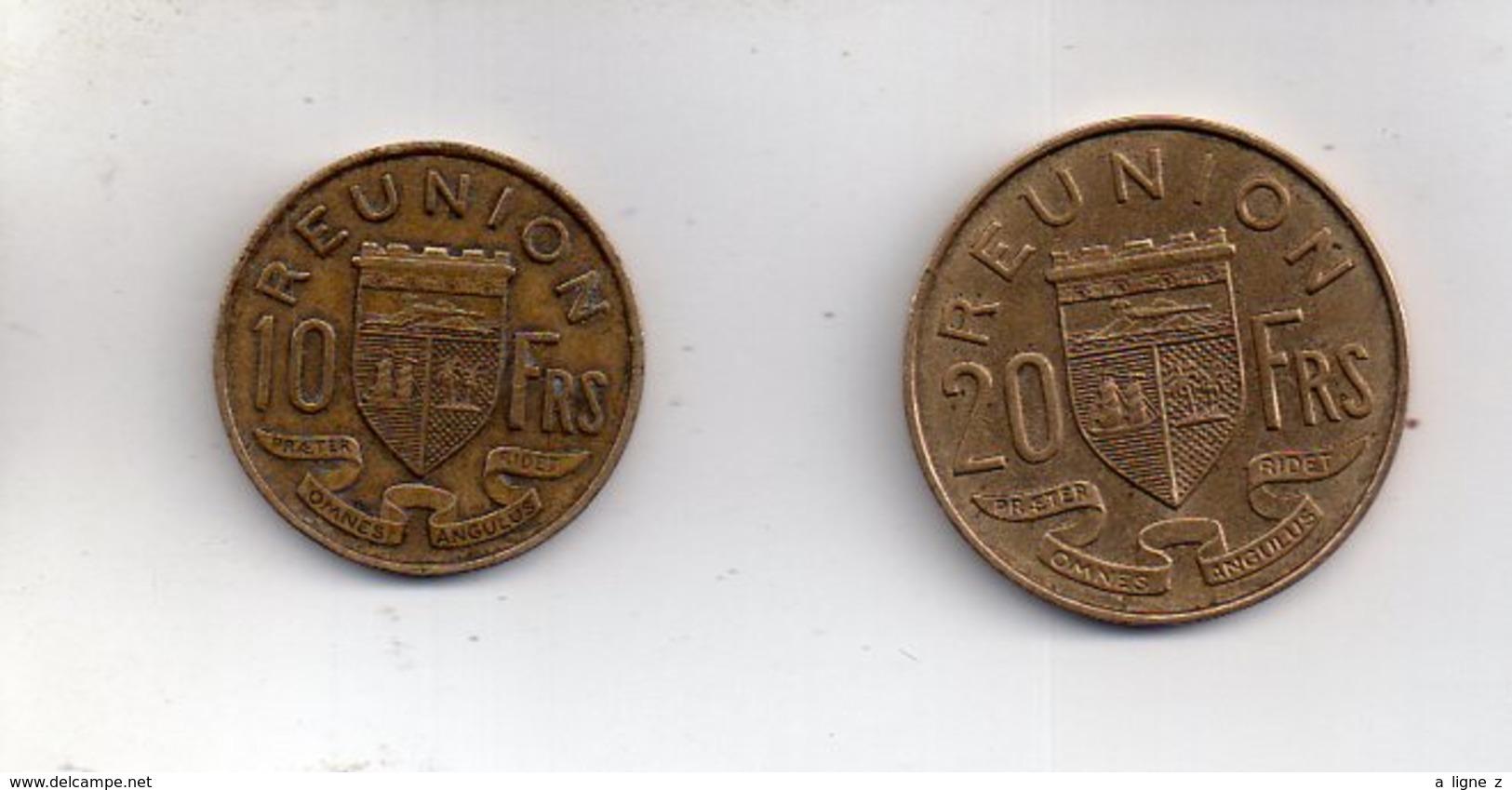 Sac X  : Monnaie Coin Lot De 2 - Ile De La Réunion 10 Francs 1962 Et 20 Francs 1964 - Réunion