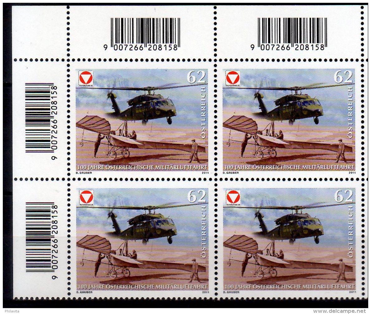2011 Austria 100 Jahre Öster. Militärluftfahrt /100 Years Of Military Flight In Austria Corner Block 4 MNH ** MiNr. 2943 - 1945-.... 2nd Republic