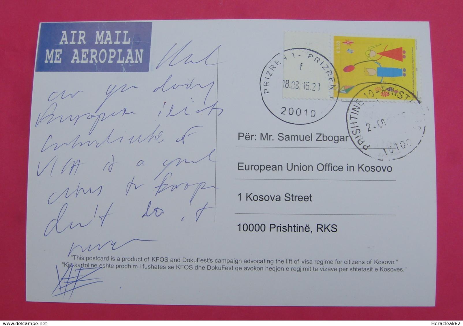 2015 KOSOVO, AIRMAIL  Postcard Send From PRIZREN To PRISTINA, RARE. Stamp: CHILDREN's DAY. PROPAGANDA! - Kosovo