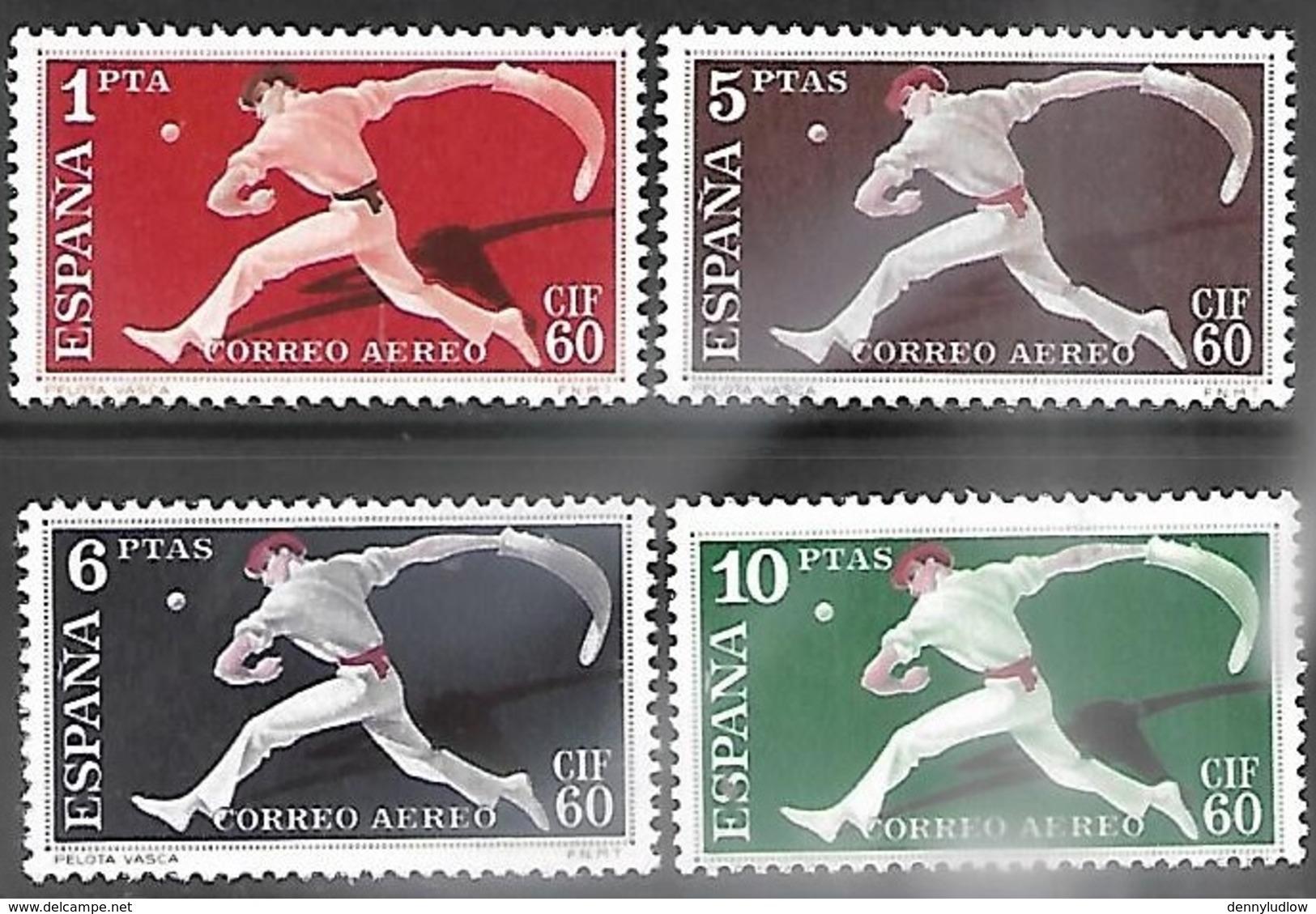 Spain  1960   Sc#C163-6  Airmails  MLH   2016 Scott Value $19 - Aéreo