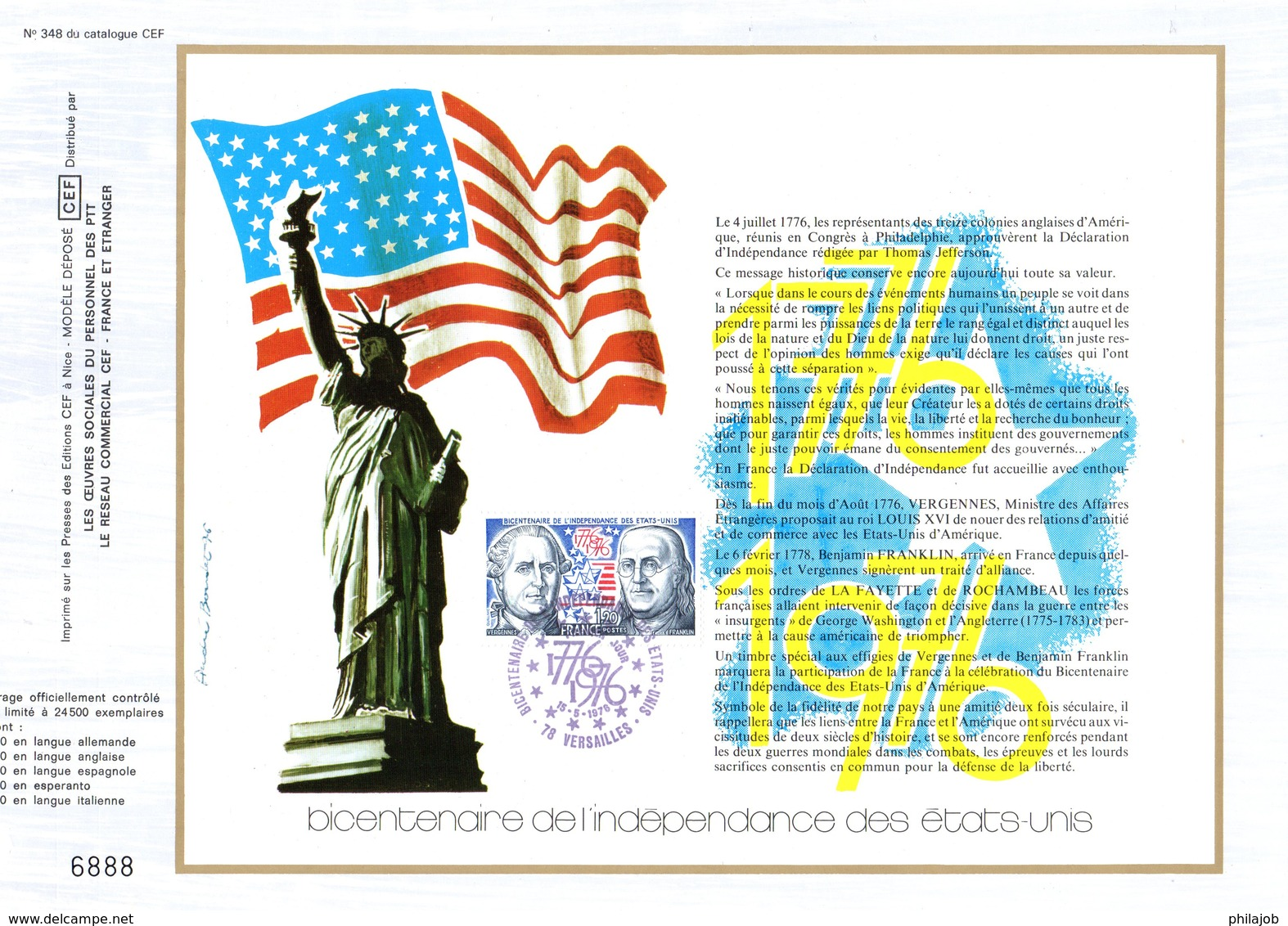 """"""" 200 ANS DE L'INDEPENDANCE DES USA """" Sur Feuillet CEF 1er Jour De 1976. N° YT 1879. Parfait état. - Unabhängigkeit USA"""