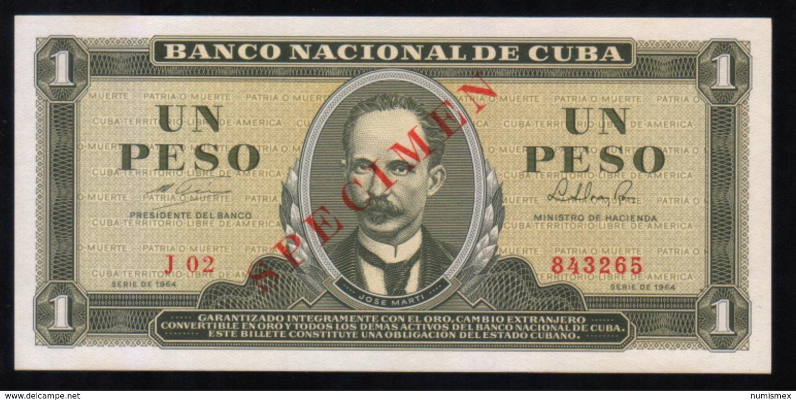 Caribe  / 1 PESO 1964 SPECIMEN ( MUESTRA ) Serie J-02 843265 UNC - Cuba
