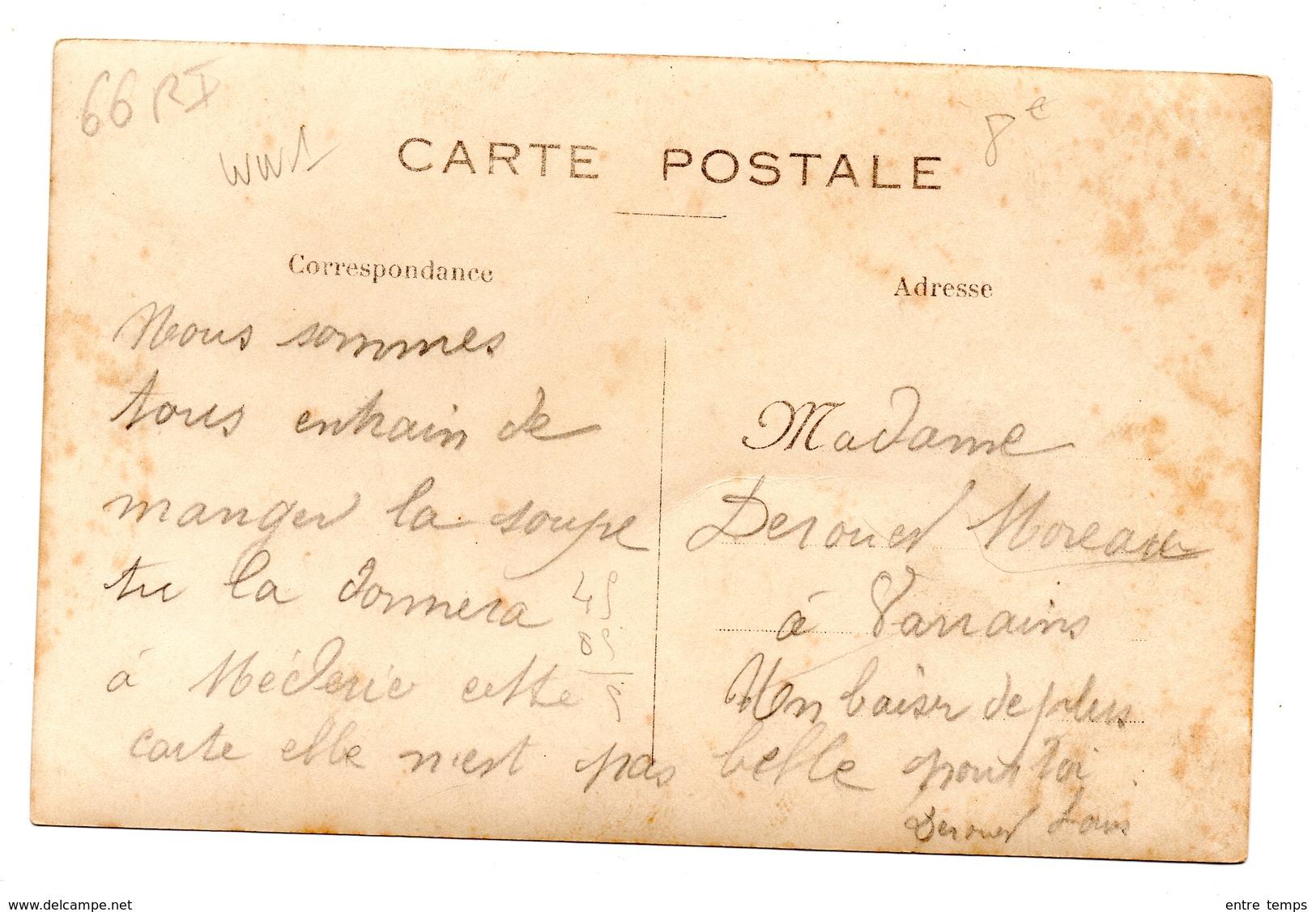 Carte Photo 66 ème RI  La Soupe - Weltkrieg 1914-18