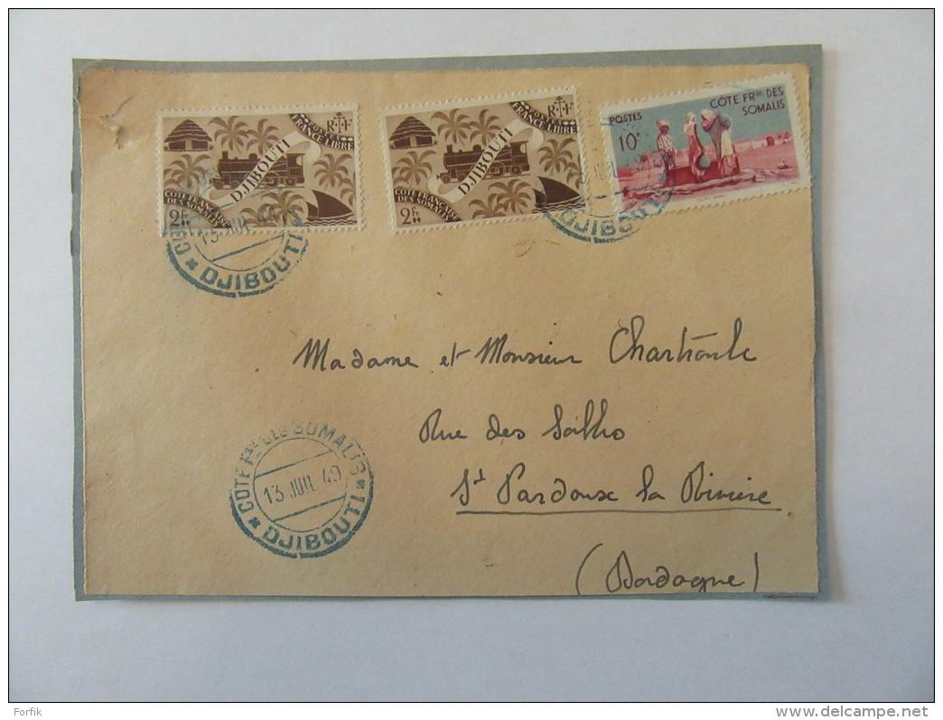 Façade D'enveloppe Côte Française Des Somalis (Djibouti) Vers France - Timbres YT N°249, 272 - Cachet 1949 - French Somali Coast (1894-1967)