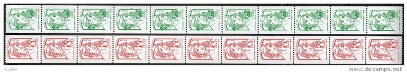 France Roulette N°  116 Et 117 ** Ou 5017 Et 5018 X 11 - Marianne De Ciappa Et Kawena Rouge Et Verte (sans Les Poids) - Rollen