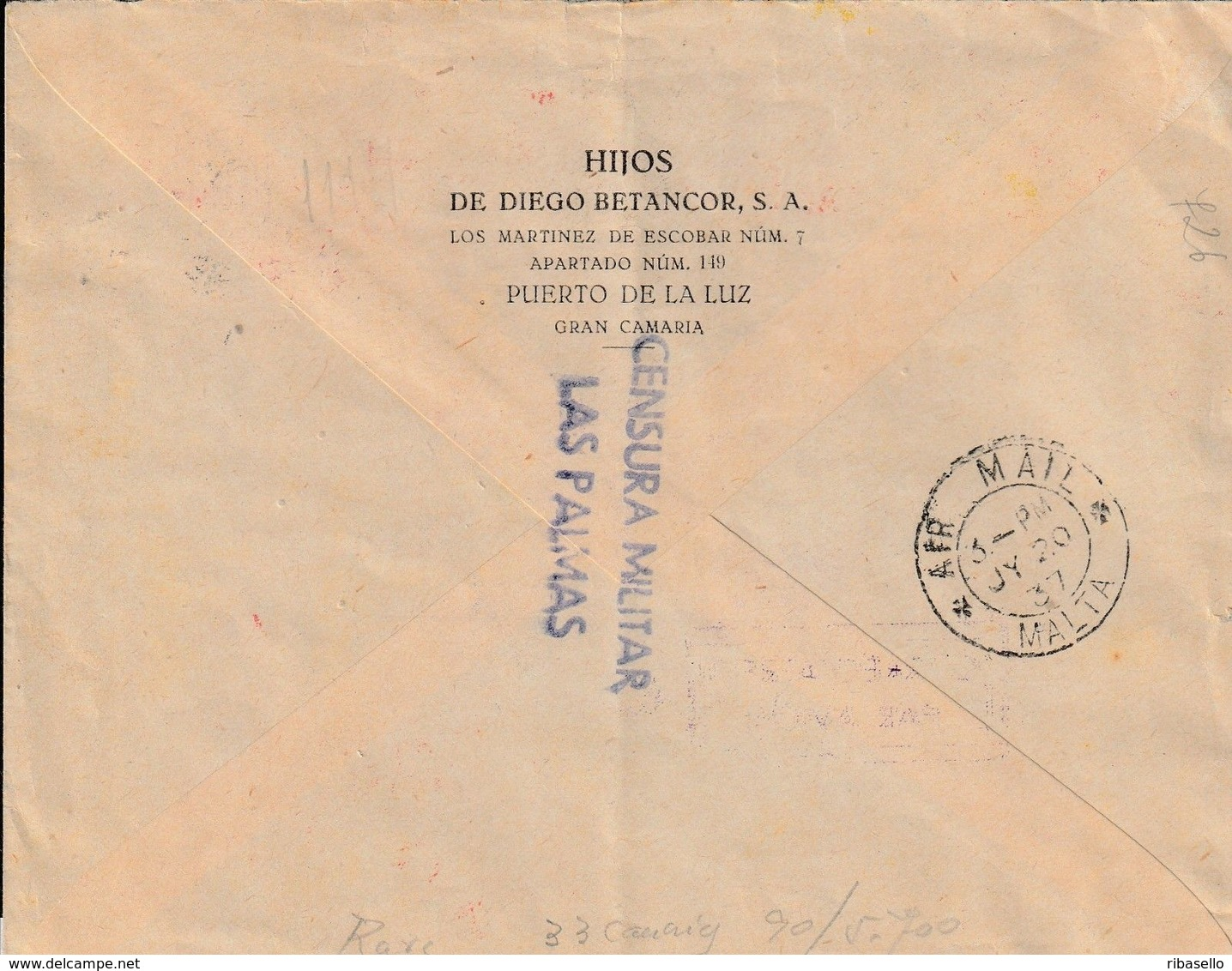 España 1937. Canarias. Carta De Las Palmas A Malta. Censura. - Marcas De Censura Nacional