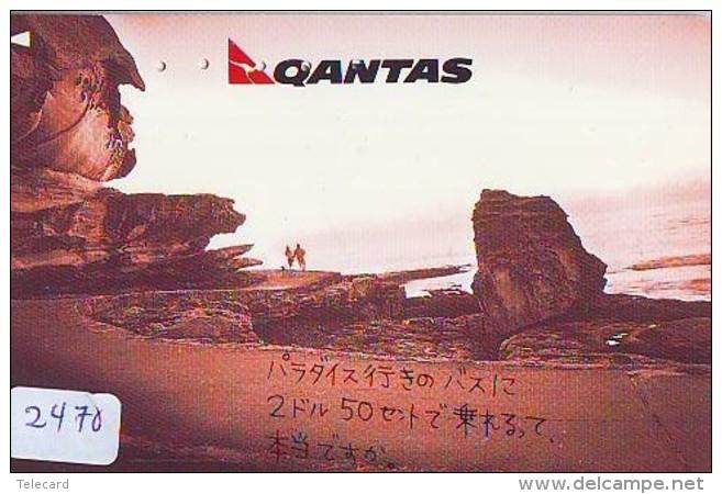 Télécarte  JAPON * QANTAS  (2470) * AVIATION * AIRLINE Phonecard  JAPAN AIRPLANE * FLUGZEUG - Airplanes