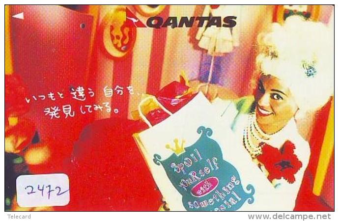 Télécarte  JAPON * QANTAS  * FEMME (2472) * AVIATION * AIRLINE Phonecard  JAPAN AIRPLANE * FLUGZEUG - Avions