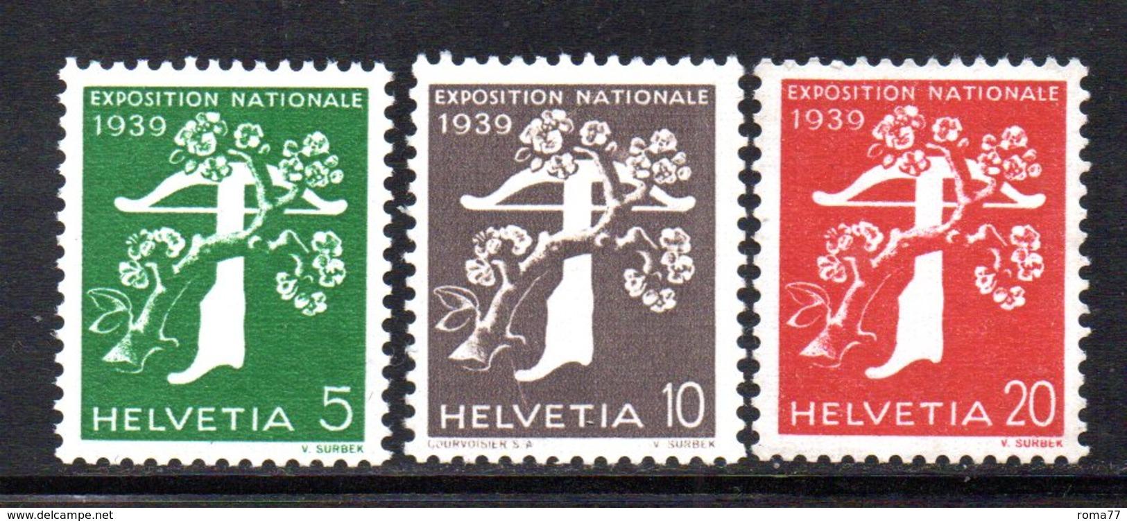 477/1500 - SVIZZERA 1939 , Unificato N. 329A/331A  ***  MNH.  Leggenda Francese  Carta Goffrata - Nuovi