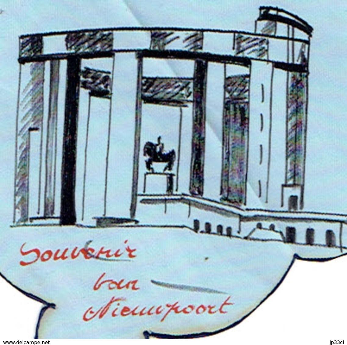 "Nieuport Koning Albert 1 Monument Roi Albert 1er Imprimé Sur Mouchoir (Zakdoek) ""Souvenir Van Nieuwpoort"" - Mouchoirs"