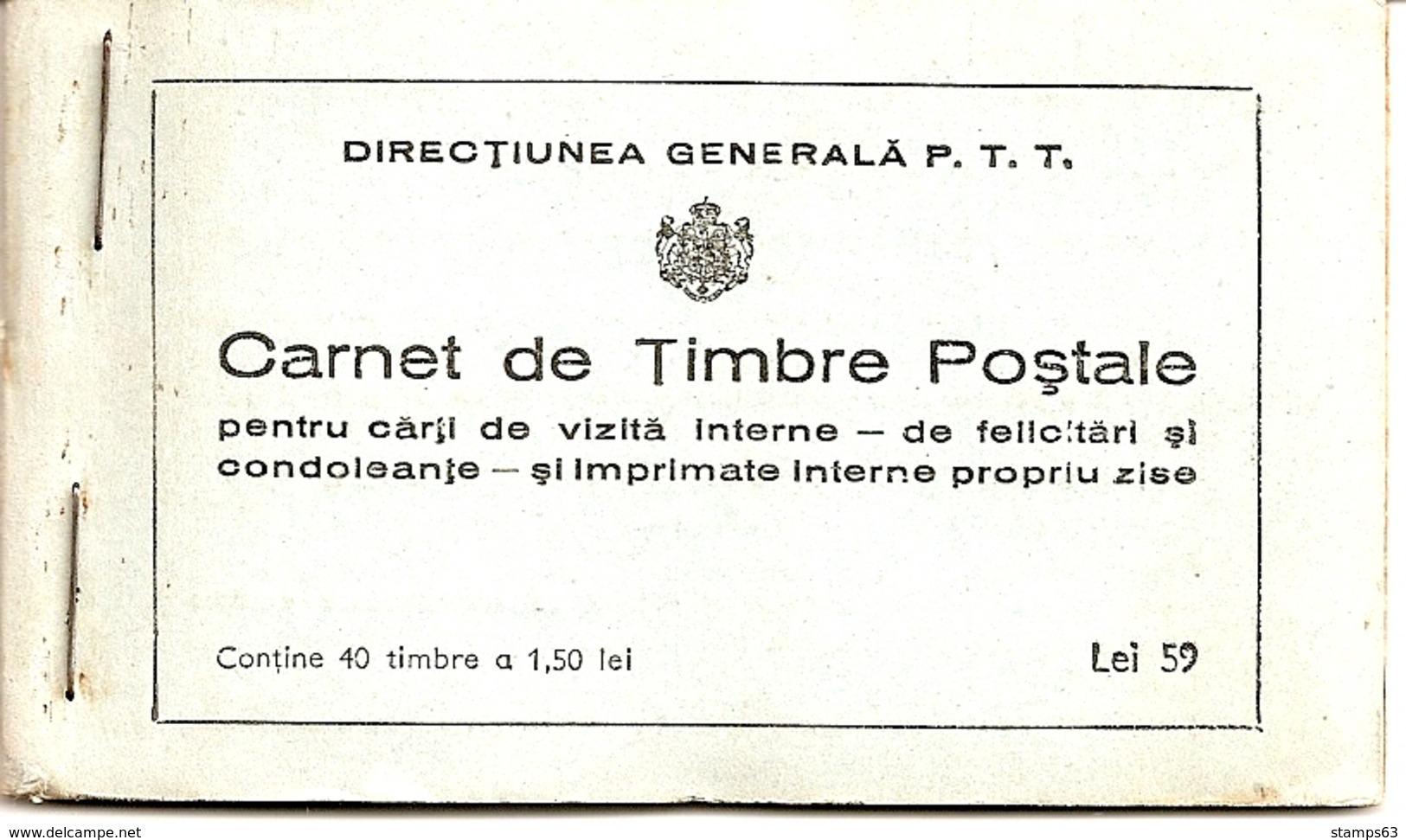 ROMANIA, 1939, Booklet 3, 40x 1.50 Lei Green (Mi 572) - Carnets