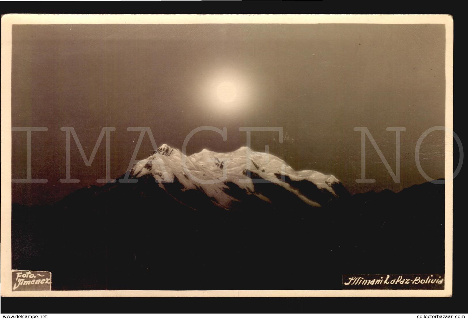 Bolivia ETHNIC ORIGINAL CA 1940 REAL PHOTO POSTCARDS Illimani La Paz Mountain Illuminated By Sun Or Moon (w5-103) - Bolivia