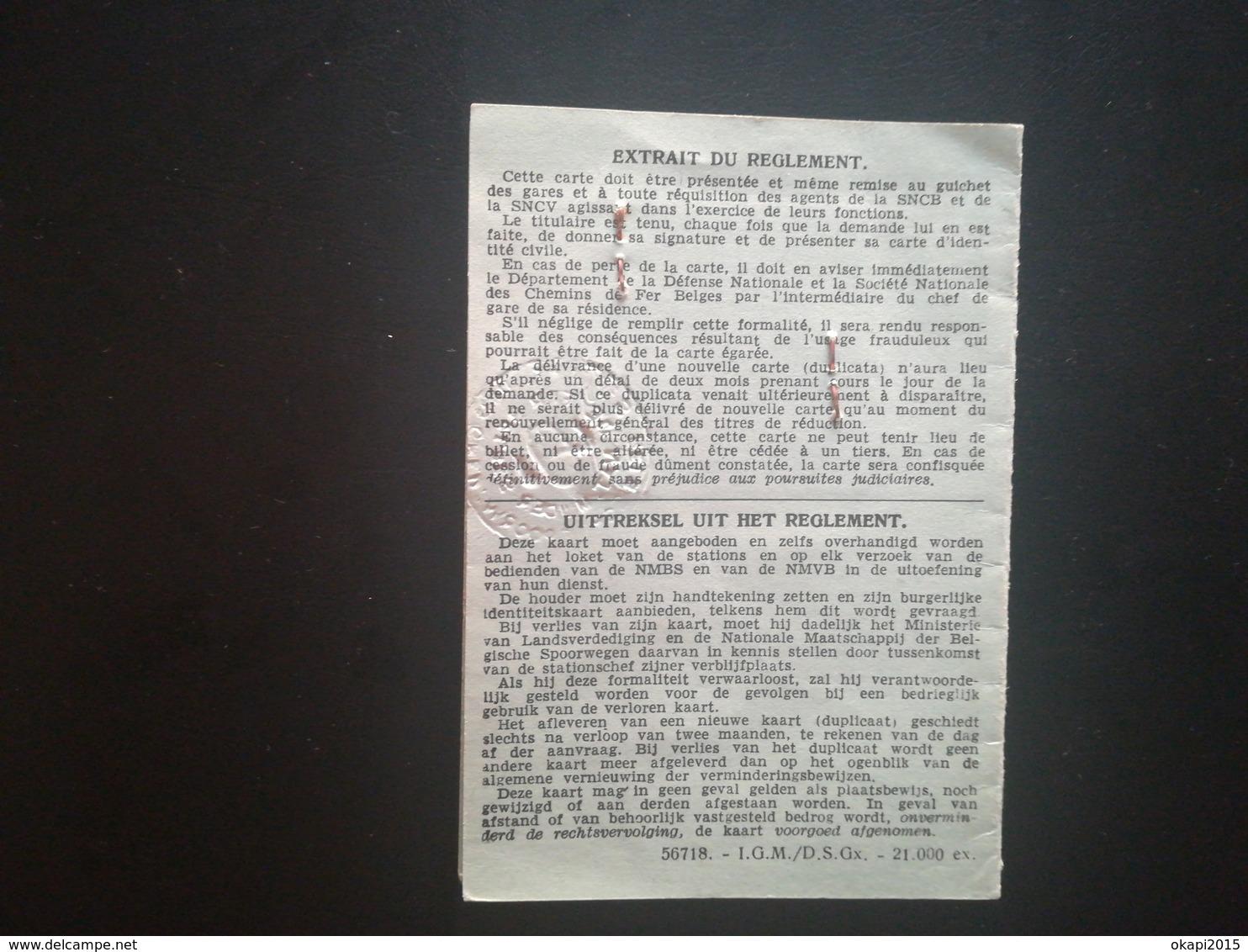 CARTE D IDENTITÉ POUR ANCIEN COMBATTANT DE LA GUERRE 1914 -  1918 POUR RÉDUCTIONS TRANSPORTS BELGIQUE MILITARIA - 1914-18