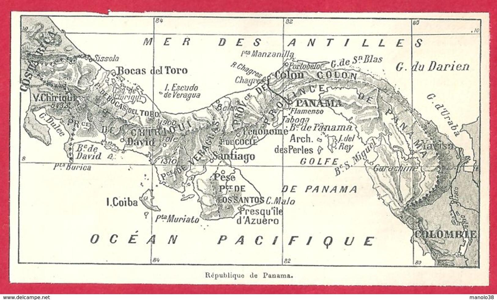 Carte De La République De Panama, Larousse 1908 - Vieux Papiers