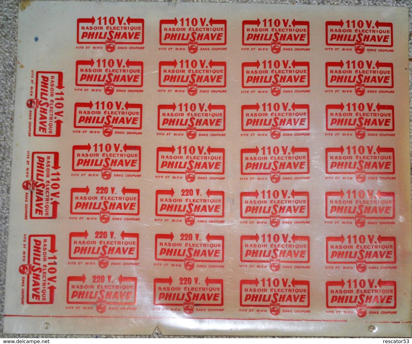 Rare Grande Planche Glassoïd Logos Rasoir électrique PhiliShave 110 Volt Philips 33,5 X 29 Cm - Plaques Publicitaires