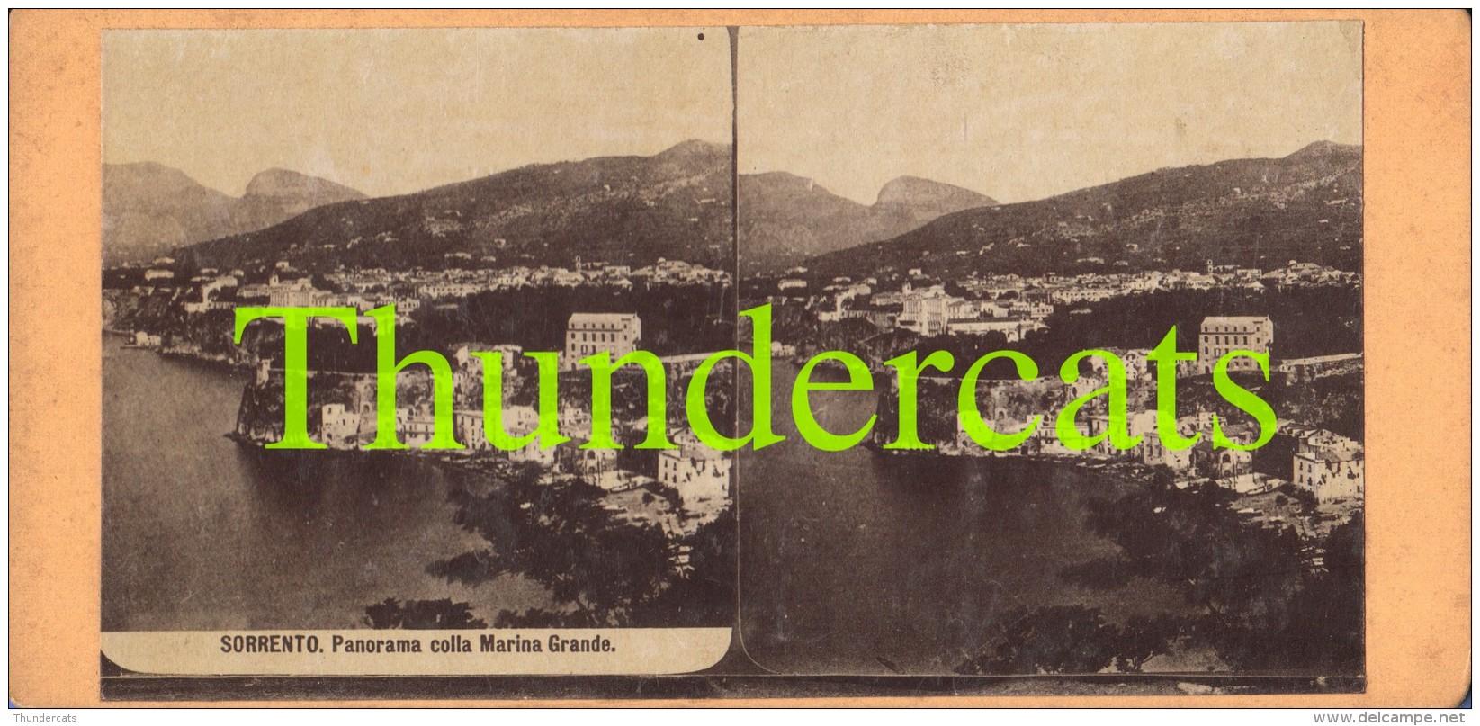 ANCIENNE PHOTO STEREOSCOPIQUE STEREOVIEW PHOTO STEREO FOTO SORRENTO PANORAMA COLLA MARINA GRANDE ITALY ITALIA - Stereoscopio