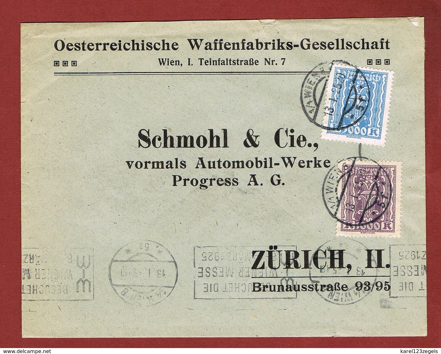Infla Ab 1 Dez 1924 Ausland  Brief - 1918-1945 1ère République