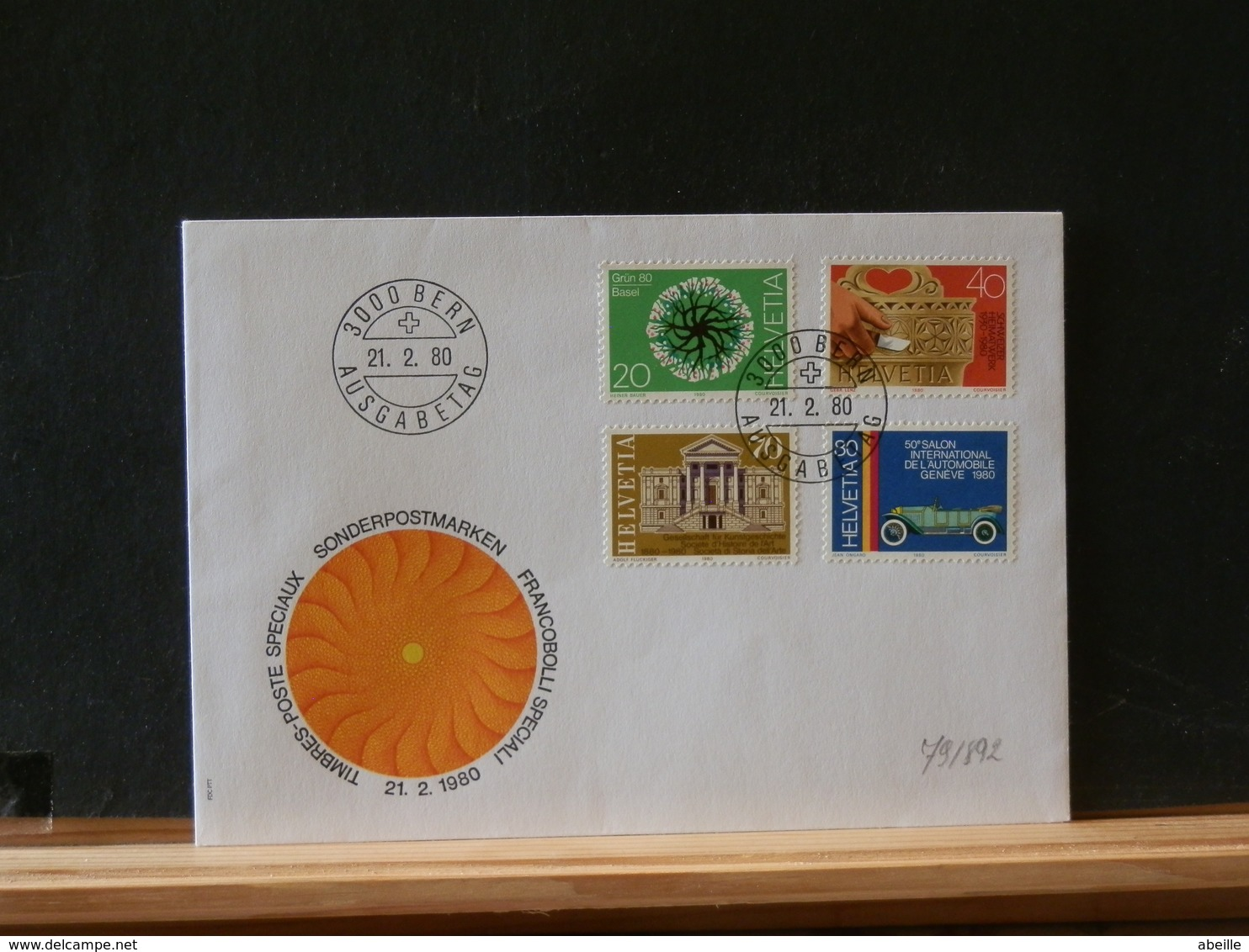 79//892 FDC  SUISSE - Voitures