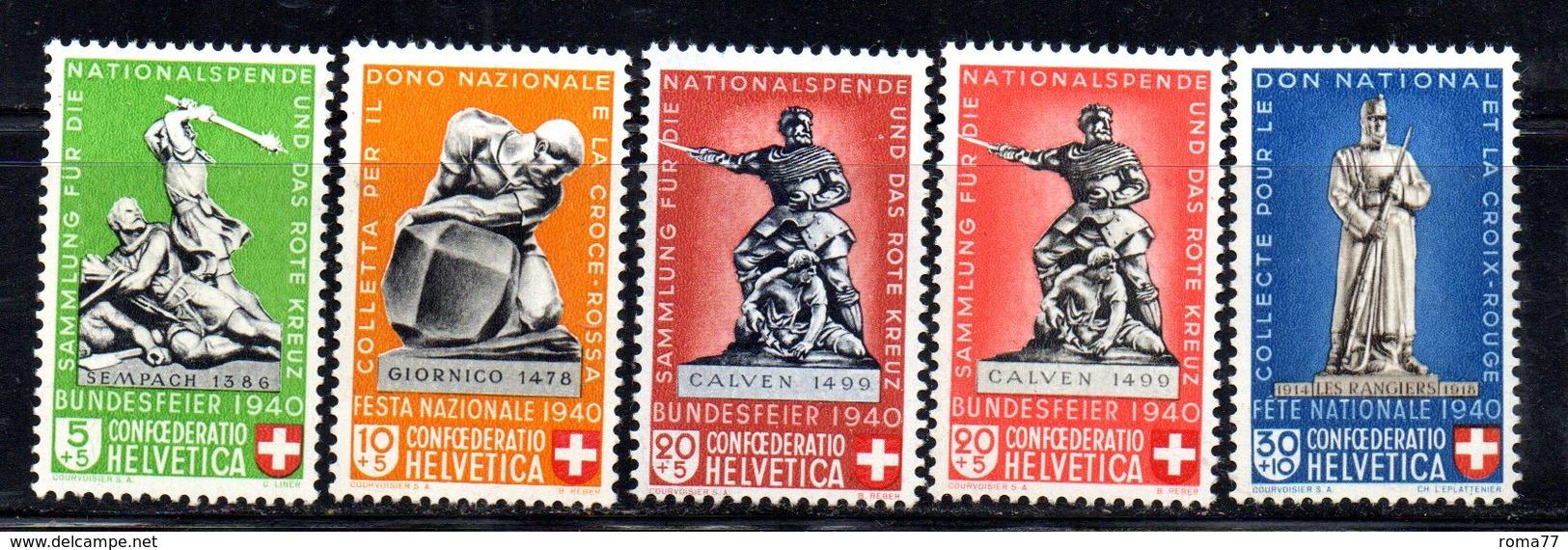 495/1500 - SVIZZERA 1940 , Pro Patria Serie Unificato N. 349/353  ***  MNH - Nuovi