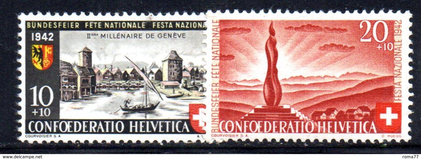 497/1500 - SVIZZERA 1942 , Pro Patria Serie Unificato N. 378/379  ***  MNH - Pro Patria