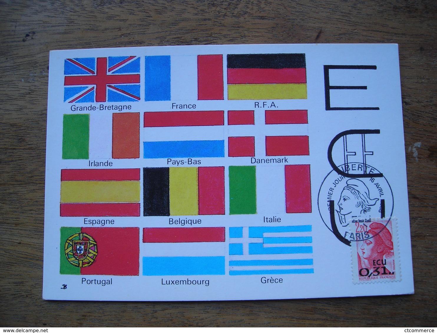 Carte Maximum 1988 1er Jour N° 2530 Liberté Surchargé 0,31 ECU - Cartes-Maximum