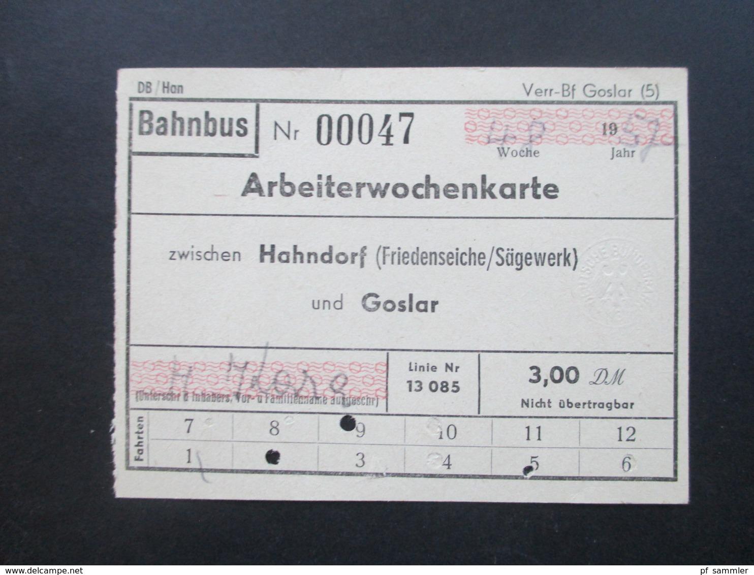 Bahnbus 4x Arbeiterwochenkarte 1957 Zwischen Hahndorf (Friedenseiche / Sägewerk) Und Goslar. Linie Nr. 85 - Wochen- U. Monatsausweise