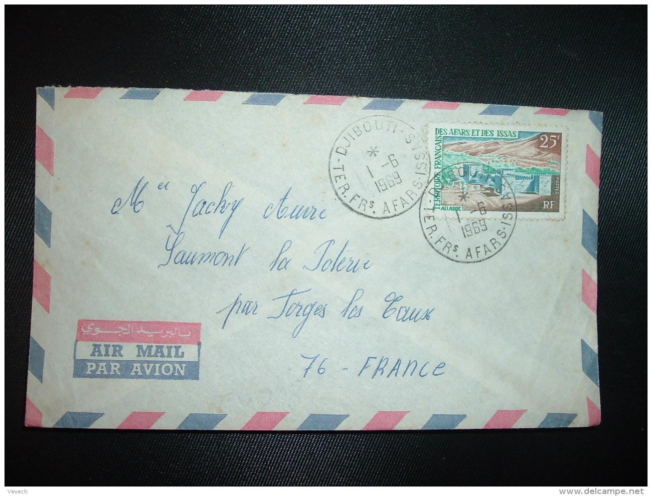 LETTRE TP ALI ADDE 25F OBL.1-6 1969 DJIBOUTI - Afars Et Issas (1967-1977)