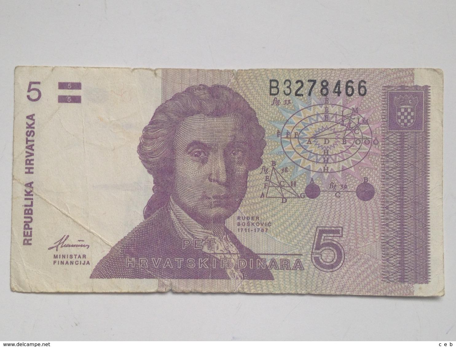 Billete Croacia. 5 Dinares. 1991 - Croatie