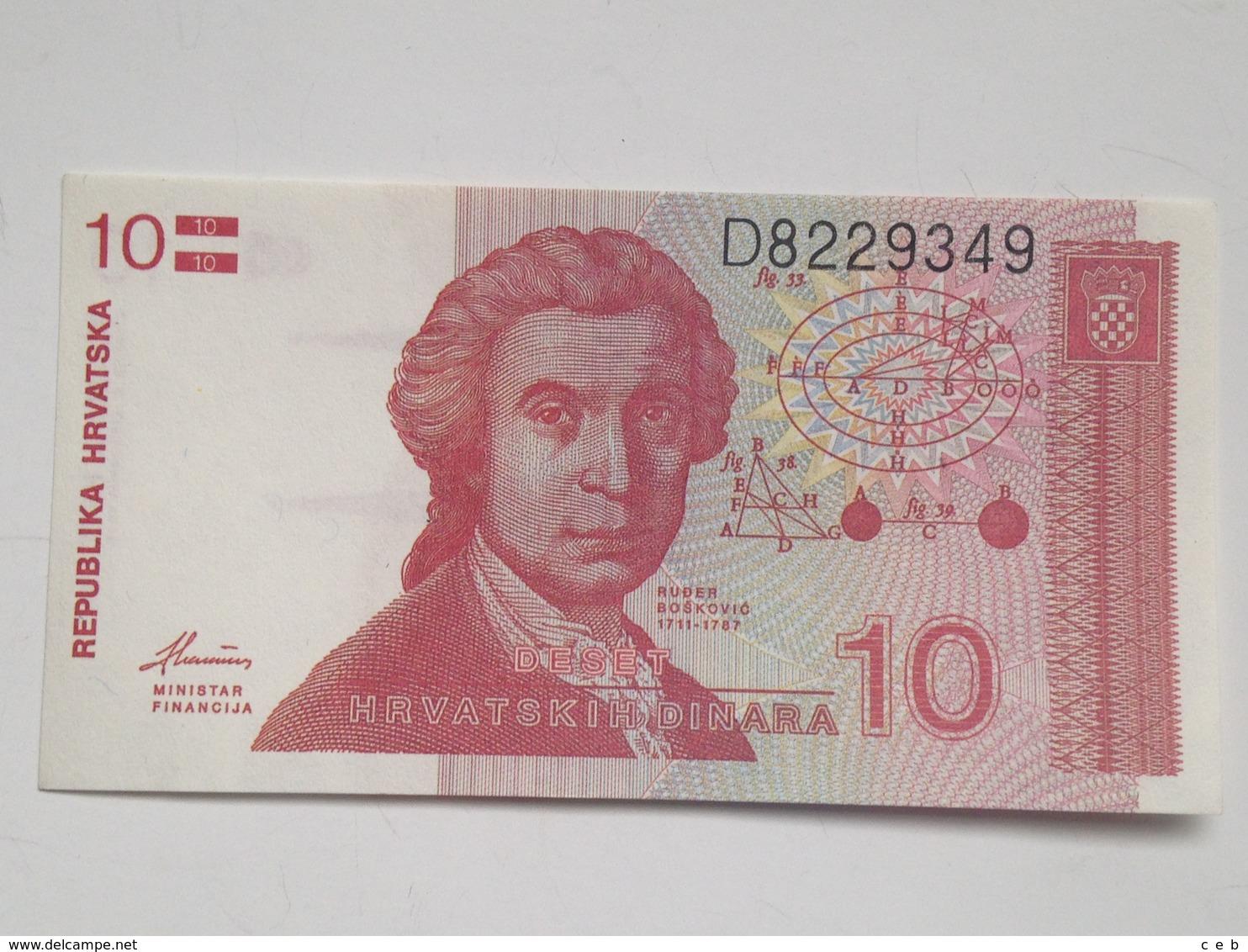 Billete Croacia. 10 Dinares. 1991. Sin Circular - Croatie