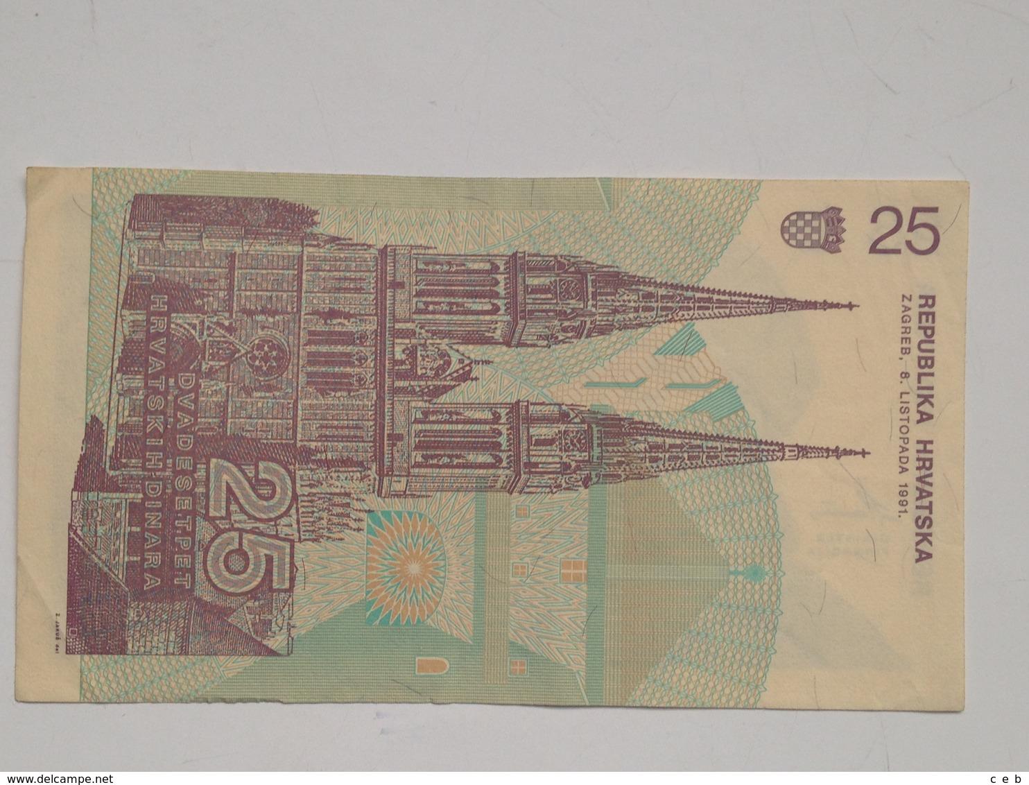 Billete Croacia. 25 Dinares. 1991. Muy Buena Conservación - Croatie
