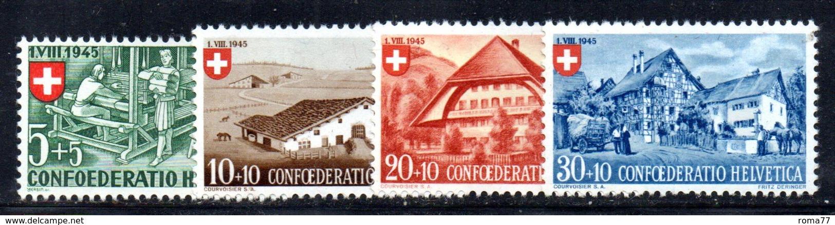 516/1500 - SVIZZERA 1945, Unificato N. 419/422 Con Gomma Integra ***  MNH Pro Patria - Pro Patria