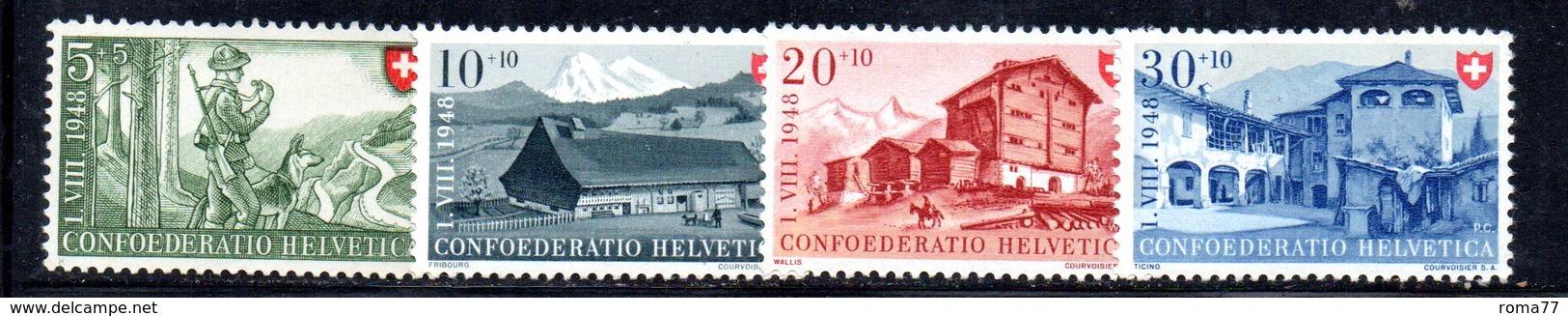 522/1500 - SVIZZERA 1948, Unificato N. 457/460 Con Gomma Integra ***  MNH Pro Patria - Pro Patria