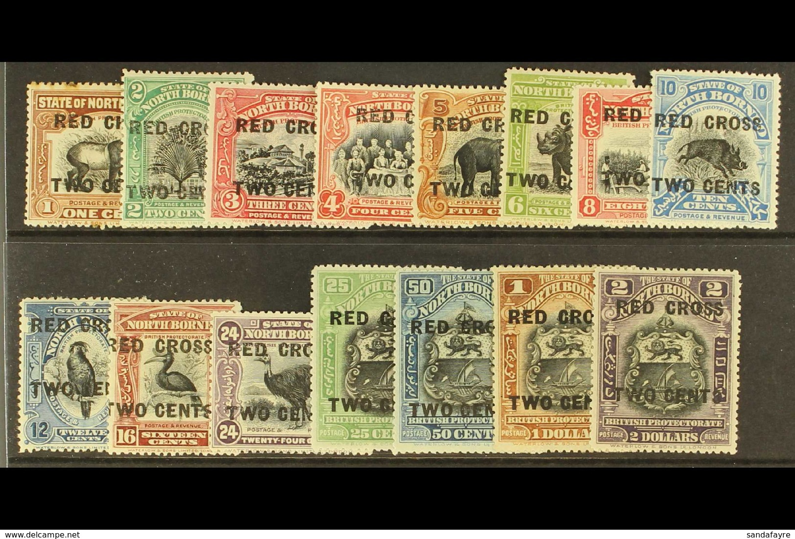 1918 Red Cross Set To 24c + 2c, 25c + 2c To $2 + 2c, SG 214/226, 229/232, Fine Mint, The 1c Rust Spots. (15 Stamps) For  - Nordborneo (...-1963)