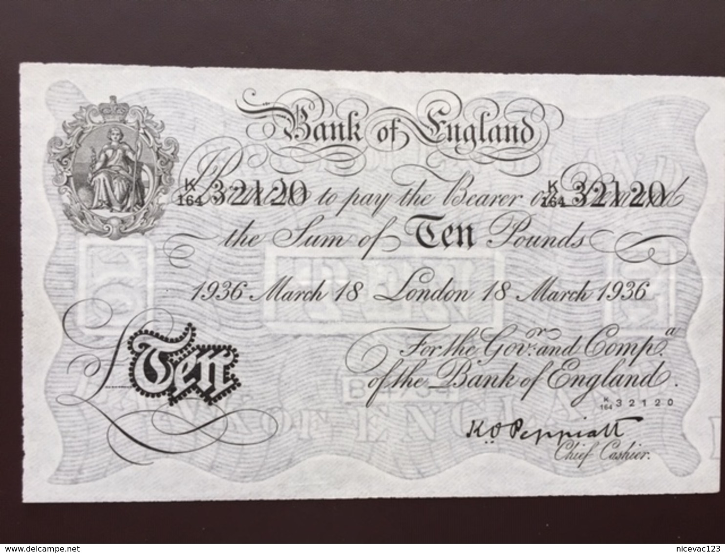 GREAT BRITAIN P336 10 POUNDS 1936 XF - …-1952 : Before Elizabeth II