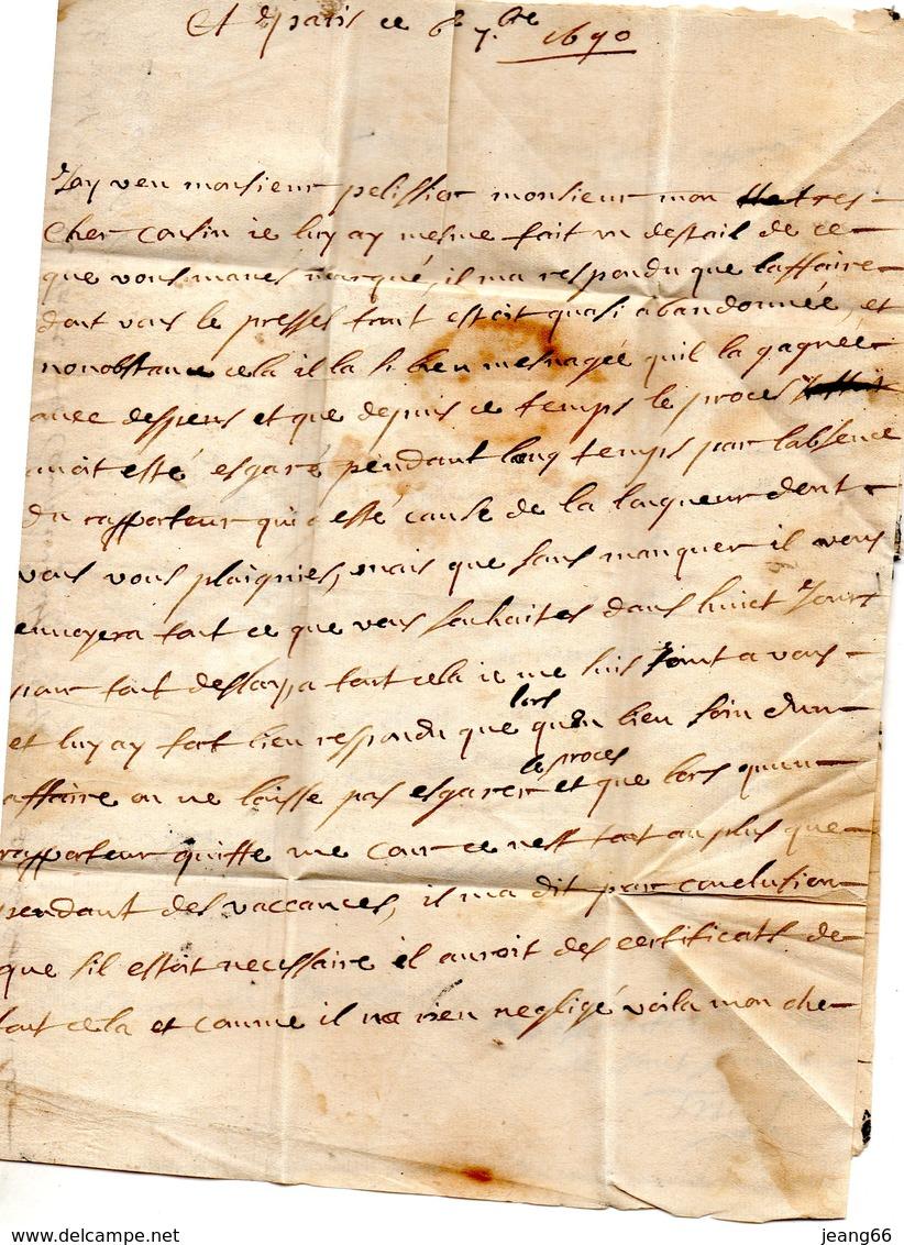 L.A.C. De PARIS Pour GRENOBLE Dauphiné, Le 6/9/1690,taxe 5. - Marcophilie (Lettres)