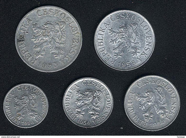 Tschechoslowakei, Lot 1+3+5+10+25 Haler(u), 1953-1958 - Tchécoslovaquie