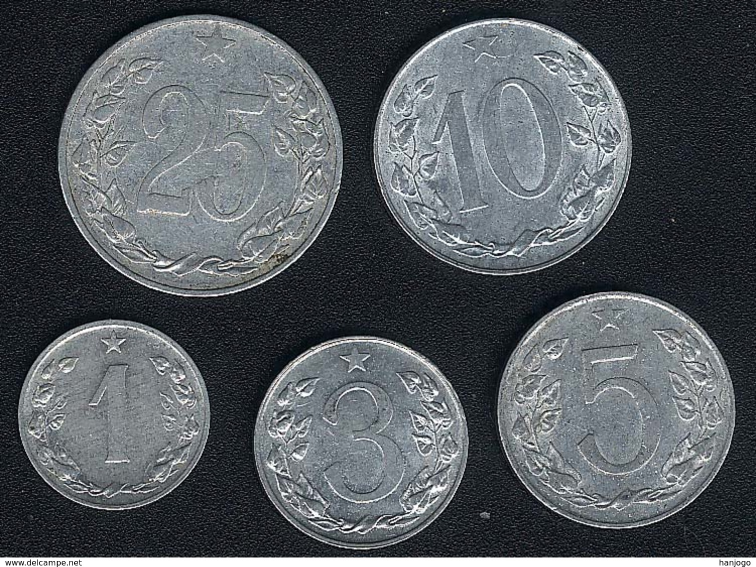 Tschechoslowakei, Lot 1+3+5+10+25 Haler(u), 1953-1958 - Tschechoslowakei