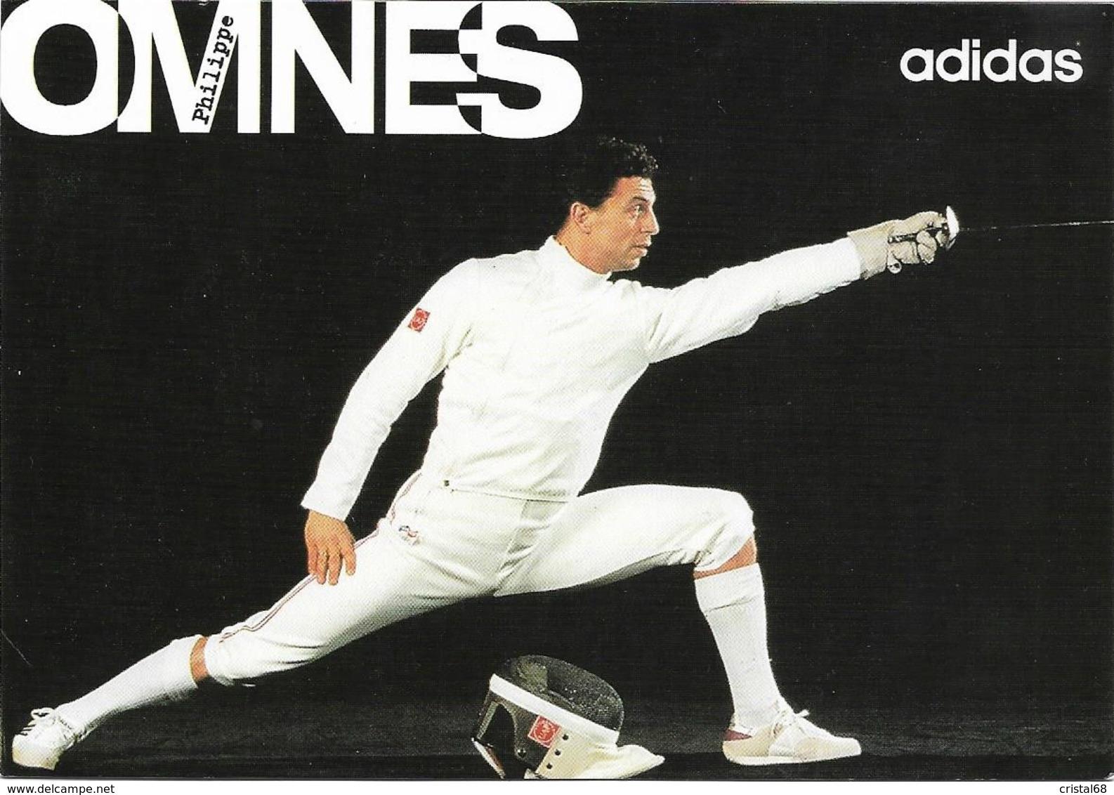 OMNES Philippe - Carte Postale éditée Par ADIDAS - Autographe Du Sportif Au Verso (Voir 2 SCANS). - Fencing